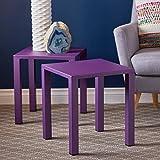 Blenne Indoor Modern Purple Aluminum 16 Side Tables (Set of 2)