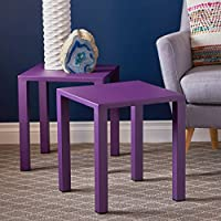 Blenne Indoor Modern Purple Aluminum 16 Side Tables (Set of 2)
