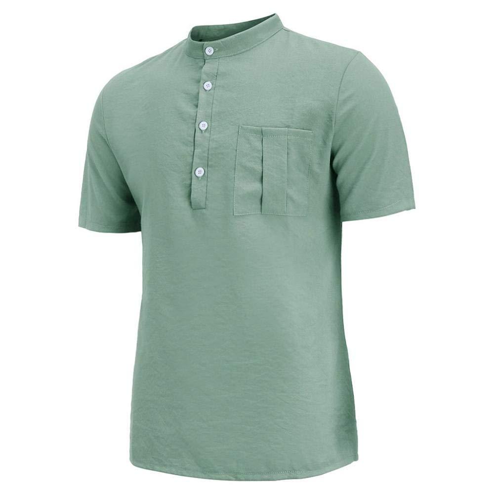 VJGOAL Manga Corta Cuello Henry Camisetas con Botones Sueltos Verano Casual Color s/ólido Algod/ón Lino Tops Retro con Bolsillo Camisas para Hombres