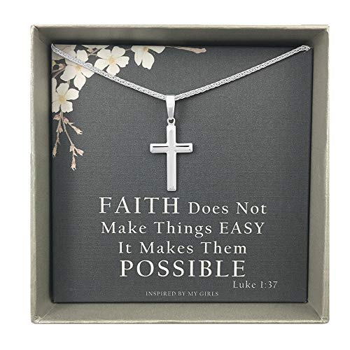 Sterling Silver Cross Necklace with Adjustable Wheat Chain and Faith Keepsake Card Gifts For (Inspired Silver Cross)