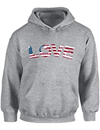 Unisex Love USA Flag Patriotic Hoodie Hooded Sweatshirt Stars and Stripes 4th of July