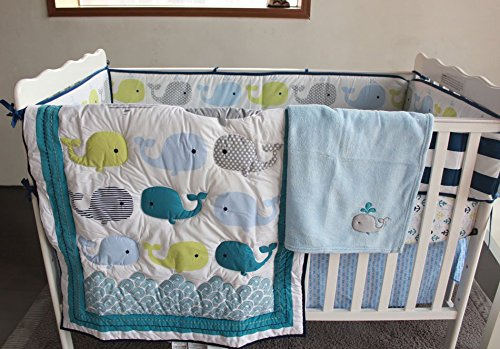 NAUGHTYBOSS Unisex Baby Bedding Set Cotton 3D Embroidery Ocean Whale Quilt Bumper Bed Skirt Mattress Cover Blanket 8 Pieces Ocean Blue by NAUGHTYBOSS (Image #1)