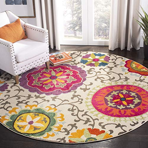 Safavieh Monaco Collection MNC233A Modern Colorful Floral Ivory and Multicolored Round Area Rug (5' Diameter) ()