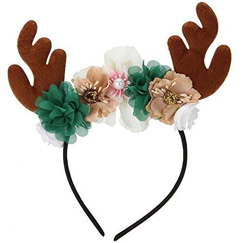 Sea Plan Kids Christmas Reindeer Antler Headband Girls Deer Antlers Ears Flower Hair Hoop (Brown) Reindeer Plan