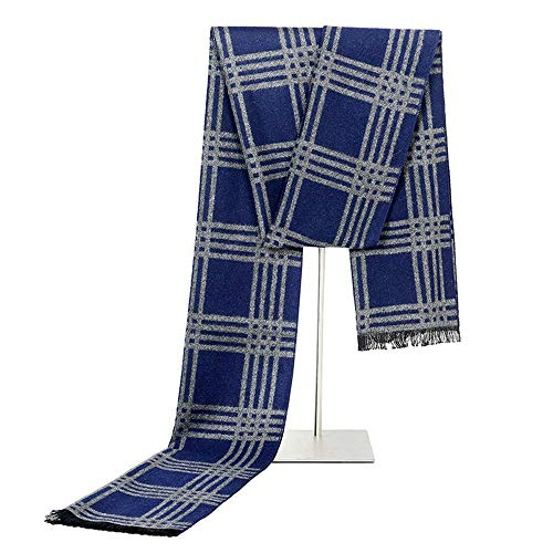 - Dig dog bone Men's Scarf Long Simulation Silk Warm Fashion Wild Striped Cross Scarf for Men-Business Casual Autumn and Winter Scarf,Comfortable (Color : Blue)