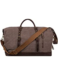 Oversized Canvas Genuine Leather Trim Travel Tote Duffel Shoulder Handbag Weekend Bag