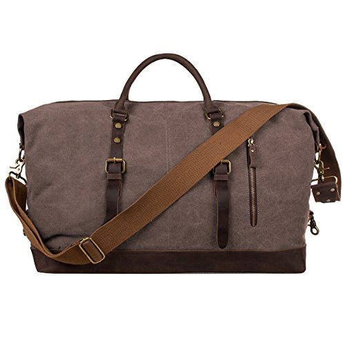S-ZONE Oversized Canvas Genuine Leather Trim Travel Tote Duffel Shoulder Handbag Weekend Bag (Coffee) (Weekend Bag)
