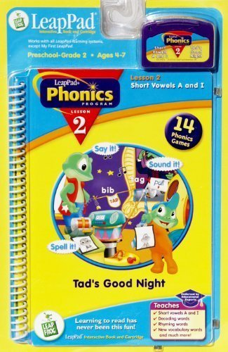 LeapPad Phonics Program Lesson 2: Short Vowels A and I: Tad's Good Night: Book and Cartridge