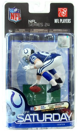 Blue Jersey Bronze Collector Level Chase McFarlane Toys NFL Sports Picks Series 24 Action Figure Jeff Saturday Indianapolis Colts
