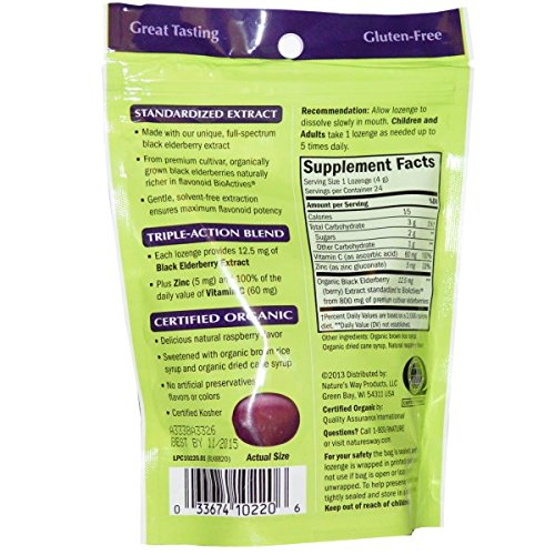 Amazon.com: Natures Way Sambucus Organic Zinc Lozenges with Elderberry and Vitamin C, 24 Count, 3 pack: Health & Personal Care