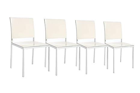 Sedie Bianche Design : Miliboo gruppo di sedie design laccate bianche nixie amazon