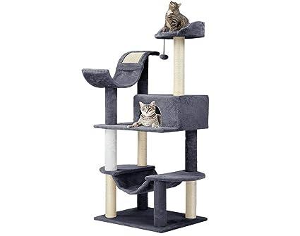 Finether-Árbol para Gato con Rascador Casitas para Gatos Juguete de Sisal Natural, con Columnas, Color Gris