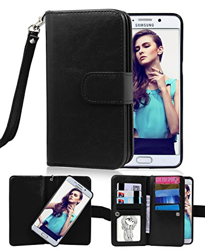 Galaxy S6 Edge Plus Case, Crosspace Flip Wallet Case Premium PU Leather 2-in-1 Protective Magnetic Shell with Credit Card Holder/Slots and Wrist Lanyard for Samsung Galaxy S6 Edge + (Black)