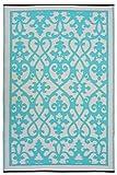 Fab Habitat Venice Indoor/Outdoor Recycled Plastic Rug,  Cream & Turquoise, (5' x 8')