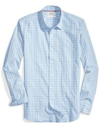 Men's Slim-fit Long-Sleeve Plaid Poplin Shirt
