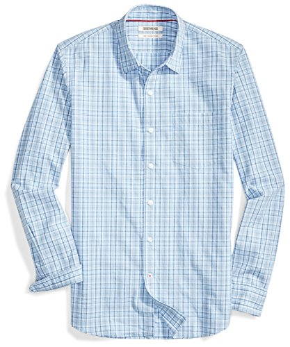 - Goodthreads Men's Slim-Fit Long-Sleeve Multi Stripe Plaid Shirt, Blue/Blue, Small