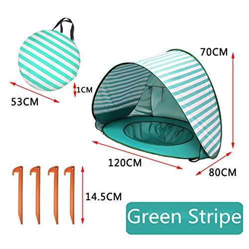 (ROWEQPP Baby Beach Tent with Pool Waterproof UV Protection Sun Shelter for Kids Outdoor Camping Lake Green Stripes 1208070cm)