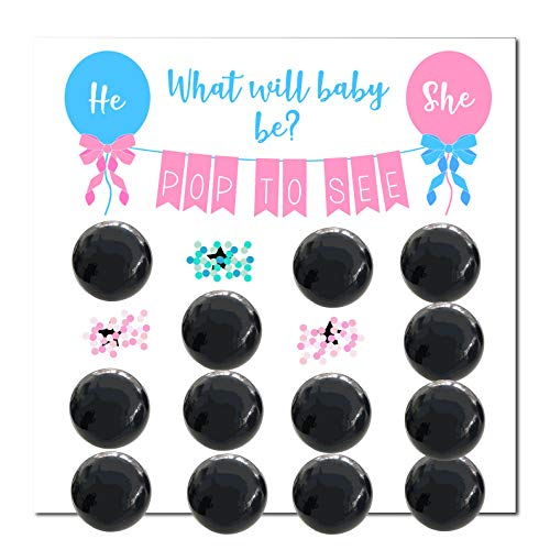 Wasatch Goods - Gender Reveal Party Supplies Game Pack, Baby Shower for Girl or Boy, Decoration Balloons Confetti, Prediction, Pink, Blue and -