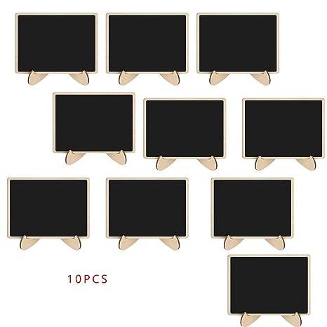 Lorsoul 10pcs Mini rectángulo de Madera de la Pizarra Forma decoración de la Tabla del Banquete de Boda y Consejos de Aviso Pequeña Pizarra