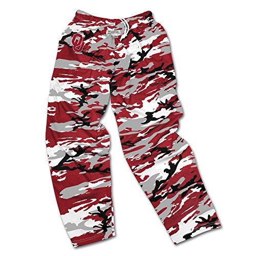 Zubaz NCAA Oklahoma Sooners Men's Camo Print Team Logo Casual Active Pants, Large, Crimson/Gray/Black
