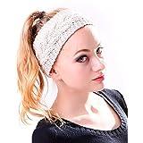 HDE Women Winter Braided Crochet Cable Knit Ear Warmer Headband Hairband Wrap (Beige)