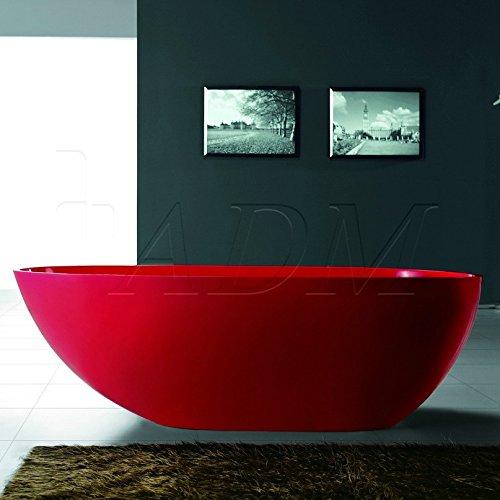 ADM Matte Red Stone Resin Sink SW-105R by ADM Bathroom Design