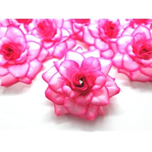 "(100) Silk Hot Pink Edge Roses Flower Head - 1.75"" - Artificial Flowers Heads Fabric Floral Supplies Wholesale Lot for Wedding Flowers Accessories Make Bridal Hair Clips Headbands Dress 5"