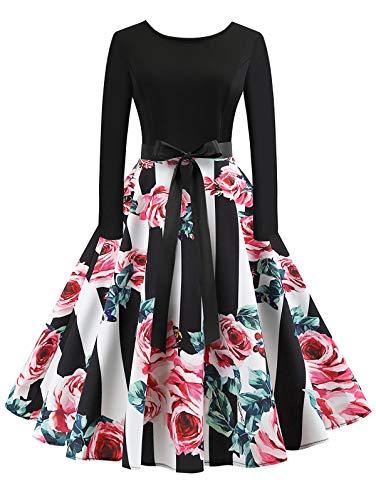 KCatsy Vintage Long Sleeves Printed Pin Up Dress Women ()