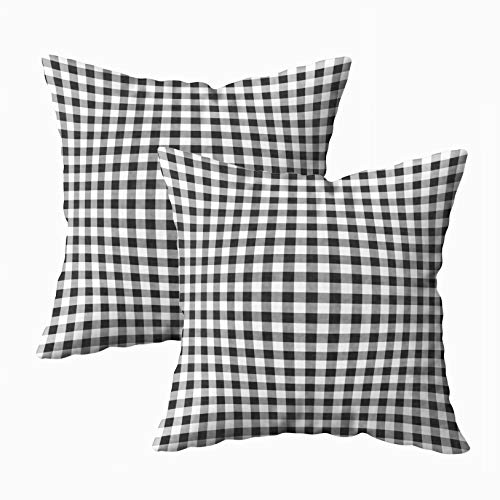 Musesh Pack of 2 Classic Black and White Gingham Checked Pattern Cushions Case Throw Pillow Cover for Sofa Home Decorative Pillowslip Gift Ideas Household Pillowcase Zippered Pillow Covers 20X20Inch ()