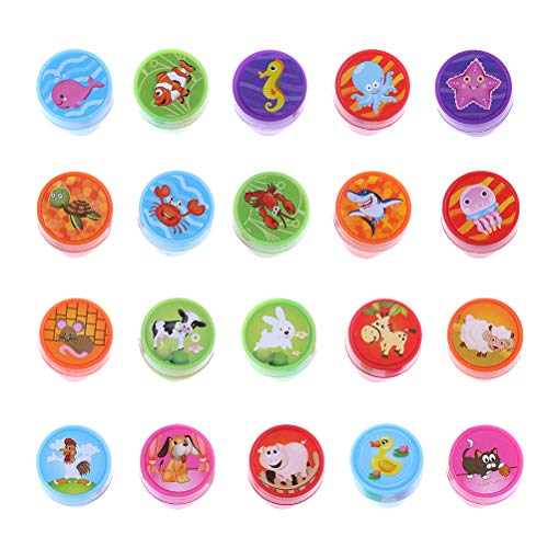 (DINGJIN 20 Pieces Assorted Plastic Animal Stamps Set Self Inking Stamps Toy Gifts for Kids Toddler (Farm animals,Sea animals))