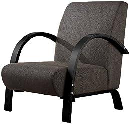 Moments of Glass Polstersessel Einzelsofa 1Sitzer Sofa Einsitzer Beistellsessel Stoffbezug mit hochwertige Polsterung (Grau mit Schwarz)