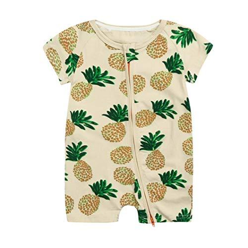 Fashion Toddler Baby Paywear Clothes Set - Newborn Baby Zip Front Jumpsuit Romper Organic Cotton 1/2 Yellow 6-12 Months ()