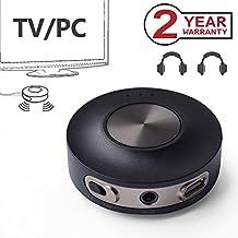 Avantree aptX Low Latency Bluetooth Transmitter for TV PC (3.5mm, RCA, Computer USB Digital Audio) 100ft Long Range, Dual Link Wireless Audio Adapter for Headphones - Priva III [2-Year Warranty]