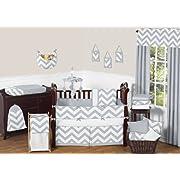 Sweet Jojo Designs 9-Piece Gray and White Chevron ZigZag Gender Neutral Baby Bedding Boy or Girl Crib Set
