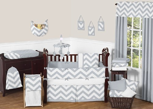 Sweet Jojo Designs Gray and White Chevron ZigZag Gender Neut