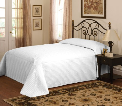 Lifestyle BQ7168WTQN French Tile Bedspread, Queen, White