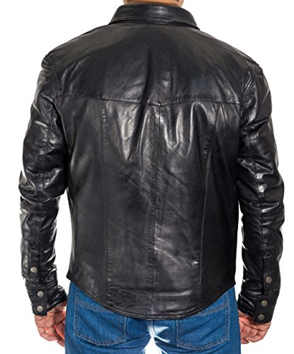 Di Uomo Vera Pelle Intelligente Nero Stile Tasto Camicia Jeans Vite Del Prigioniera Trucker Equipaggiata Giacca HXUwUqxf5