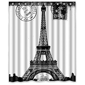 KXMDXA French Paris Eiffel Tower City Of Love Black White Waterproof Polyester Bath Shower Curtain Size