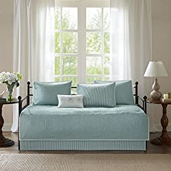 Madison Park Peyton Daybed Quilt Bedding Set - Blue, Geometric – 6 Piece Teen Girl Boy Bedding Quilt Coverlets – Plush Bed Quilts Quilted Coverlet