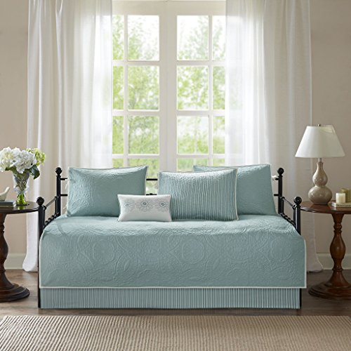 Country Set Daybed - Madison Park Peyton Daybed Quilt Bedding Set - Blue, Geometric – 6 Piece Teen Girl Boy Bedding Quilt Coverlets – Plush Bed Quilts Quilted Coverlet