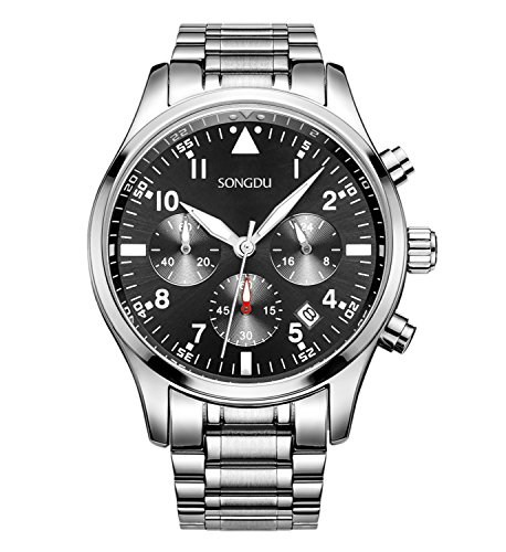 SONGDU Mens Chronograph Quartz Analog Wrist Watch Auto Date with Luxury Stainless Steel Band (Black - Silver V2) -
