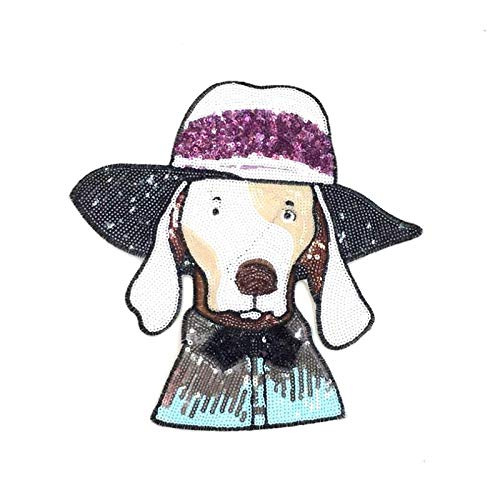 (SMALL-CHIPINC - 1pcs Sequins Terrier terrier dog Embroidery Fabric Large Applique Patch African Lace Sew Dress Cloth Decorate Accessory DIY)