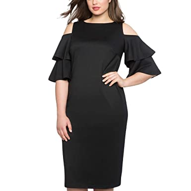 LYLIFE Women Plus Size XL-XXXL Black Red Flare Sleeve Cold Shoulder Midi  Dress( 68e651511