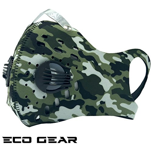 Anti Pollution Face Mask with Military Grade N99 Activated Carbon Protection | Anti Smoke, Exhaust Gas, Dust, Pollen, Allergens | Running, Walking, Cycling and other Outdoor Activities (Green Army)