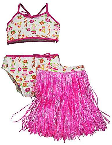 Hula Girl Bikini - Swim' n Pretty by Baby Buns - Little Girls 3 Piece Swimwear Set, Bikini and Hula Skirt, Pink, White 11064-2T