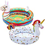 JOYIN Inflatable Kiddie Pool, Unicorn Llama 2 Ring Summer Fun Swimming Pool for Kids, Water Pool Baby Pool for