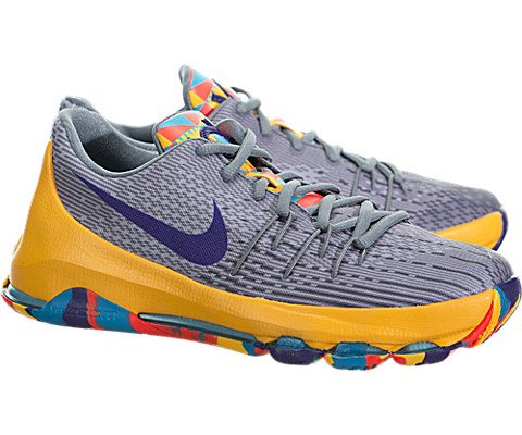 Boys Grade School Nike Kd 8 Basketball Shoes 768867-050 Wolf Grey/court Purple/blue (7)