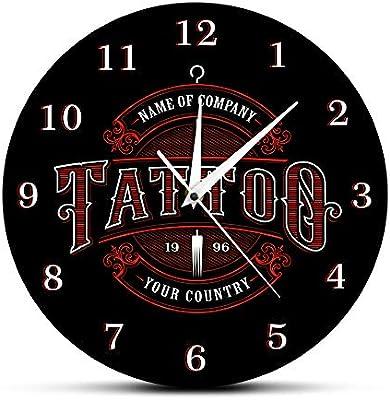 nuanyang Relojes De Pared Tattoo Time Custom Ink Shop Tatuajes ...