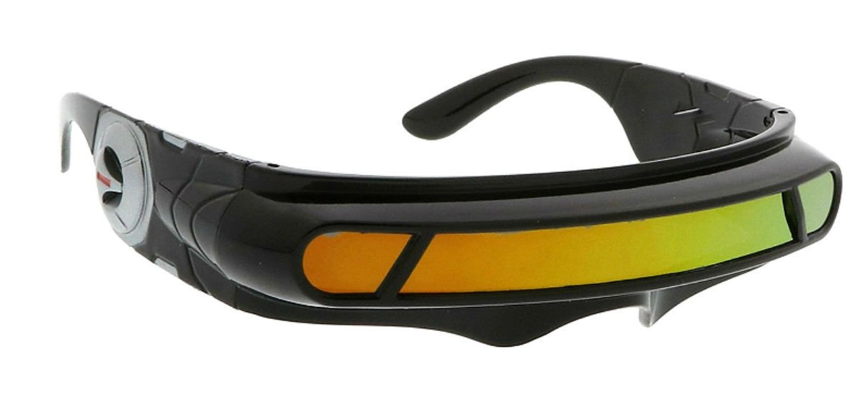 WebDeals - Futuristic Cyclops Wrap Around Monoblock Shield Sunglasses (Black, Red/Orange Revo)