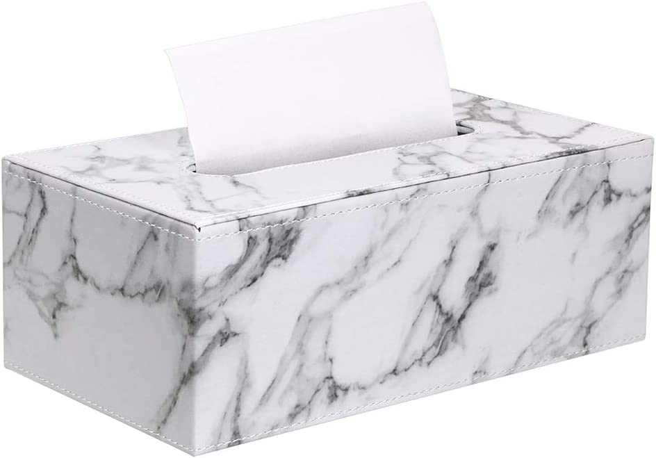 Sumnacon Stylish PU Leather Tissue Box Holder, Rectangular Napkin Holder Pumping Paper Case Dispenser, Facial Tissue Holder with Magnetic Bottom for Home Office Car Automotive Decoration, Marble